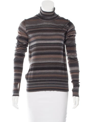 Yves Saint Laurent Striped Turtleneck Sweater None