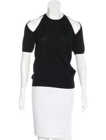Yves Saint Laurent Cutout-Accented Wool Top None