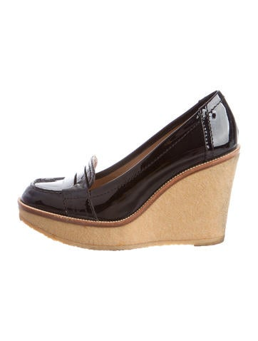 Yves Saint Laurent Patent Wedge Pumps None
