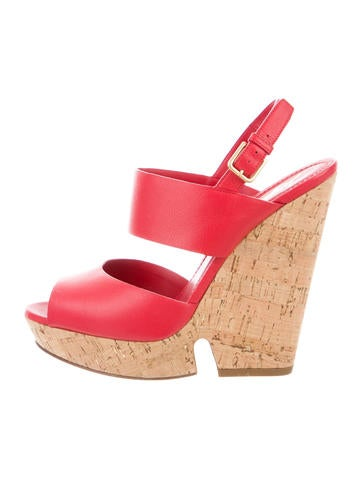 Yves Saint Laurent Leather Slingback Wedges None