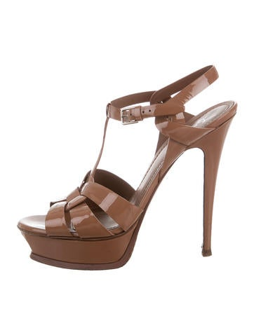 Saint Laurent Patent Leather Tribute Sandals None