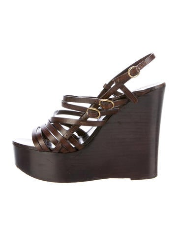 Yves Saint Laurent Leather Wedge Sandals None
