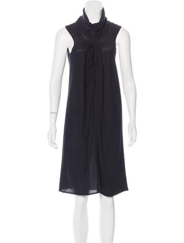 Yves Saint Laurent Silk-Blend Turtleneck Dress None