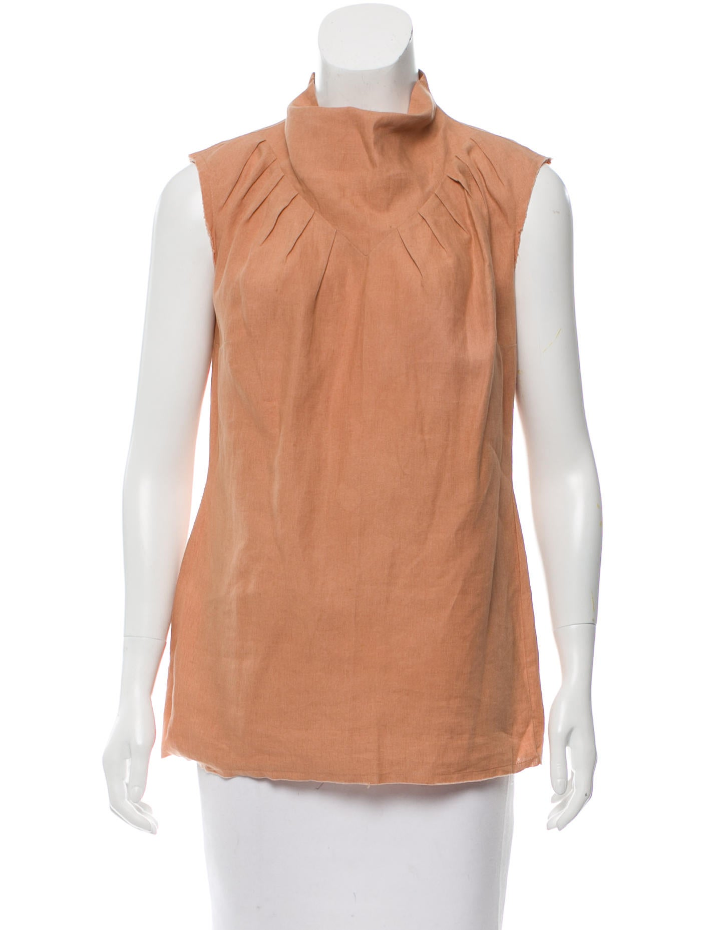 Yves saint laurent sleeveless mock neck top clothing for Sleeveless mock turtleneck shirts