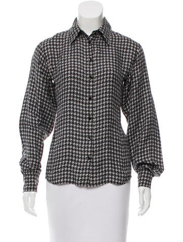 Yves Saint Laurent Houndstooth Button-Up Top None