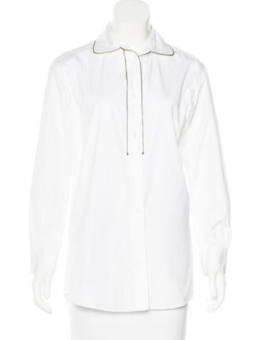 Yves Saint Laurent Zip-Accented Button-Up Top None