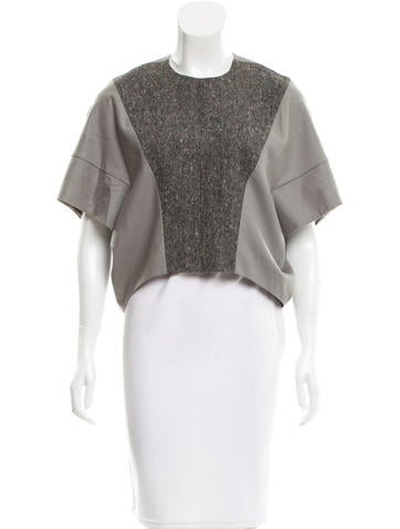 Yves Saint Laurent Tweed-Accented Wool Top None