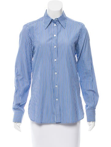 Yves Saint Laurent Striped Button-Up Top None
