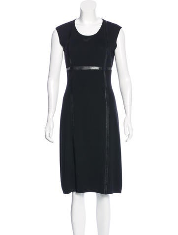 Yves Saint Laurent Wool Rib Knit Dress None