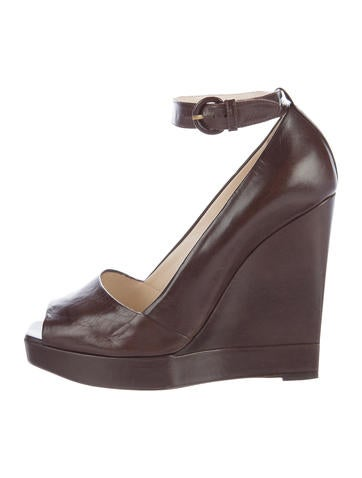Yves Saint Laurent Leather Peep-Toe Wedges None