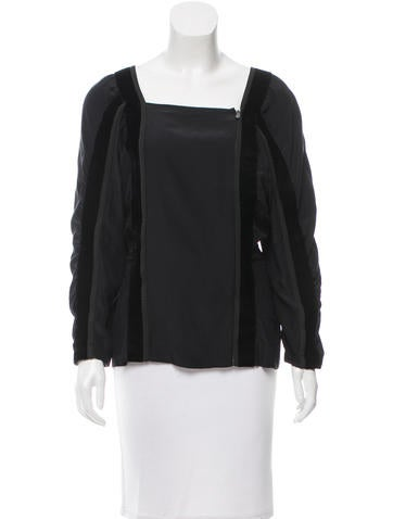 Yves Saint Laurent Velvet-Paneled Ruched Top None