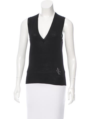 Yves Saint Laurent Sleeveless V-Neck Top None