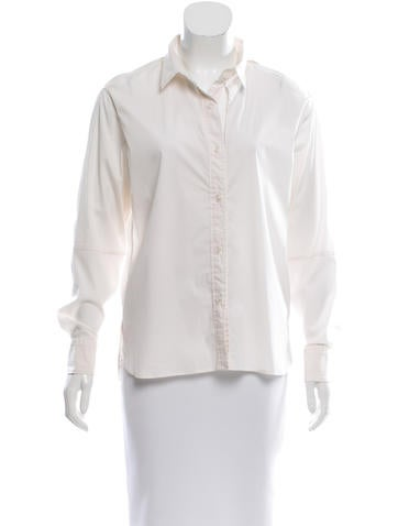 Yves Saint Laurent Cutout-Accented Button-Up Top None