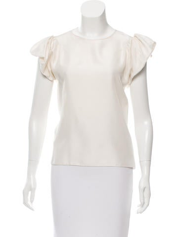 Yves Saint Laurent Ruffle-Accented Silk Top None