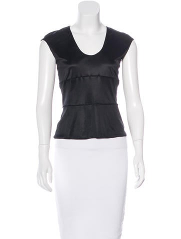 Yves Saint Laurent Paneled Scoop-Neck Top None