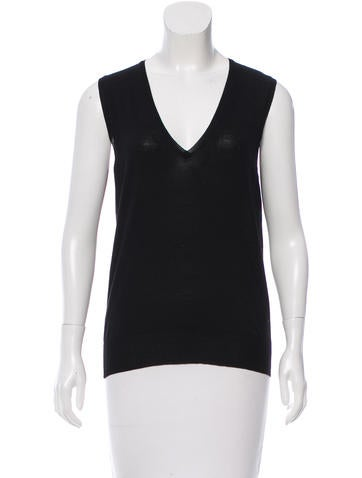 Yves Saint Laurent Wool V-Neck Top None