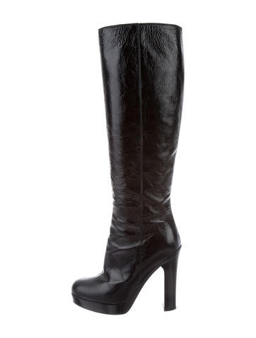 Yves Saint Laurent Patent Platform Boots None
