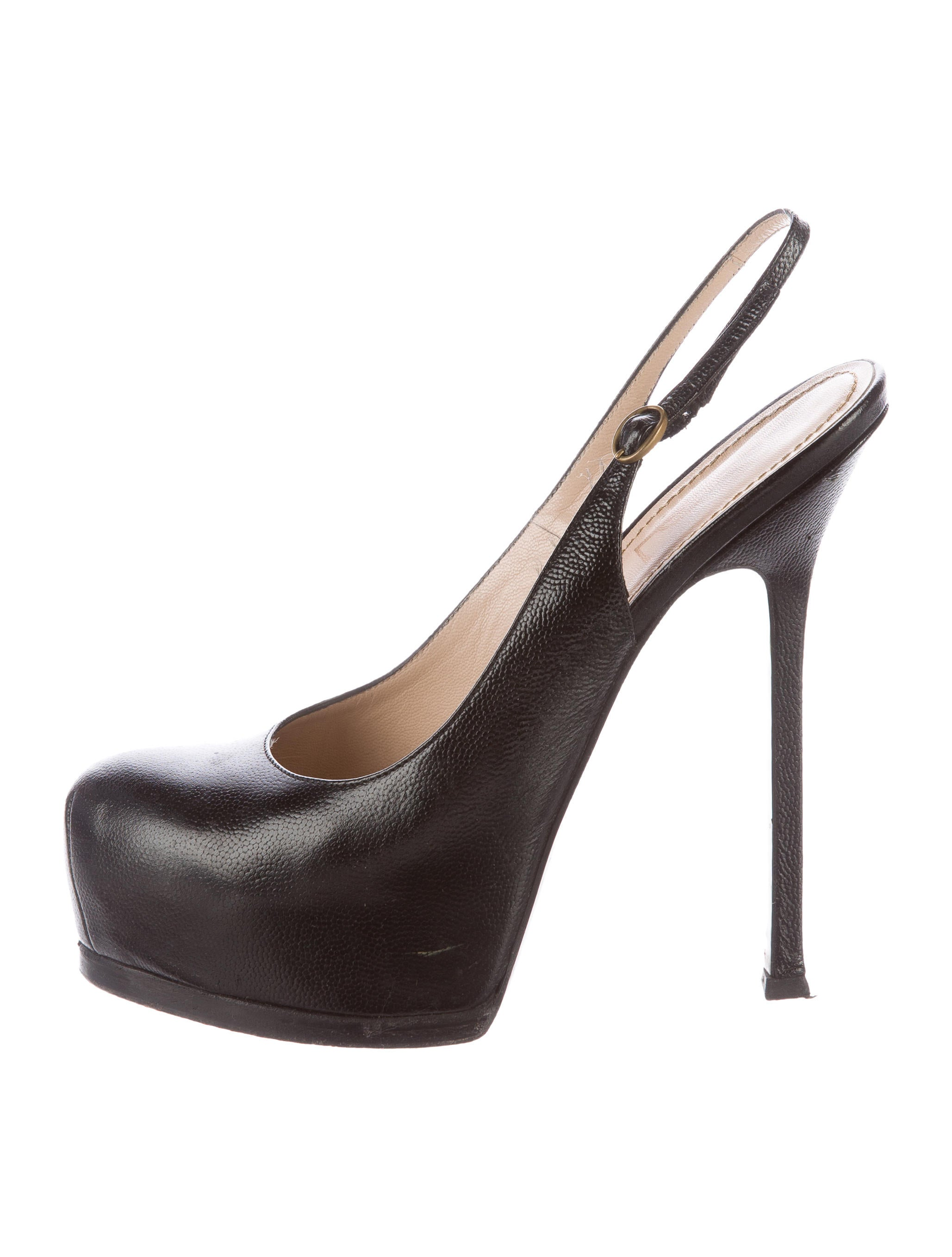 Yves Saint Laurent Leather Slingback Pumps Shoes  : YVE567611enlarged from www.therealreal.com size 2057 x 2714 jpeg 260kB