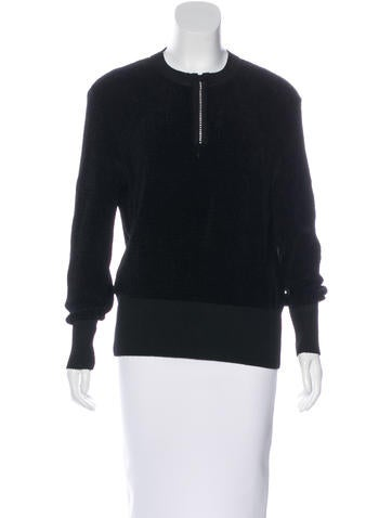 Yves Saint Laurent Long Sleeve Rib Knit Sweater None