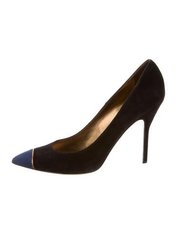 Cap-Toe Suede Pumps