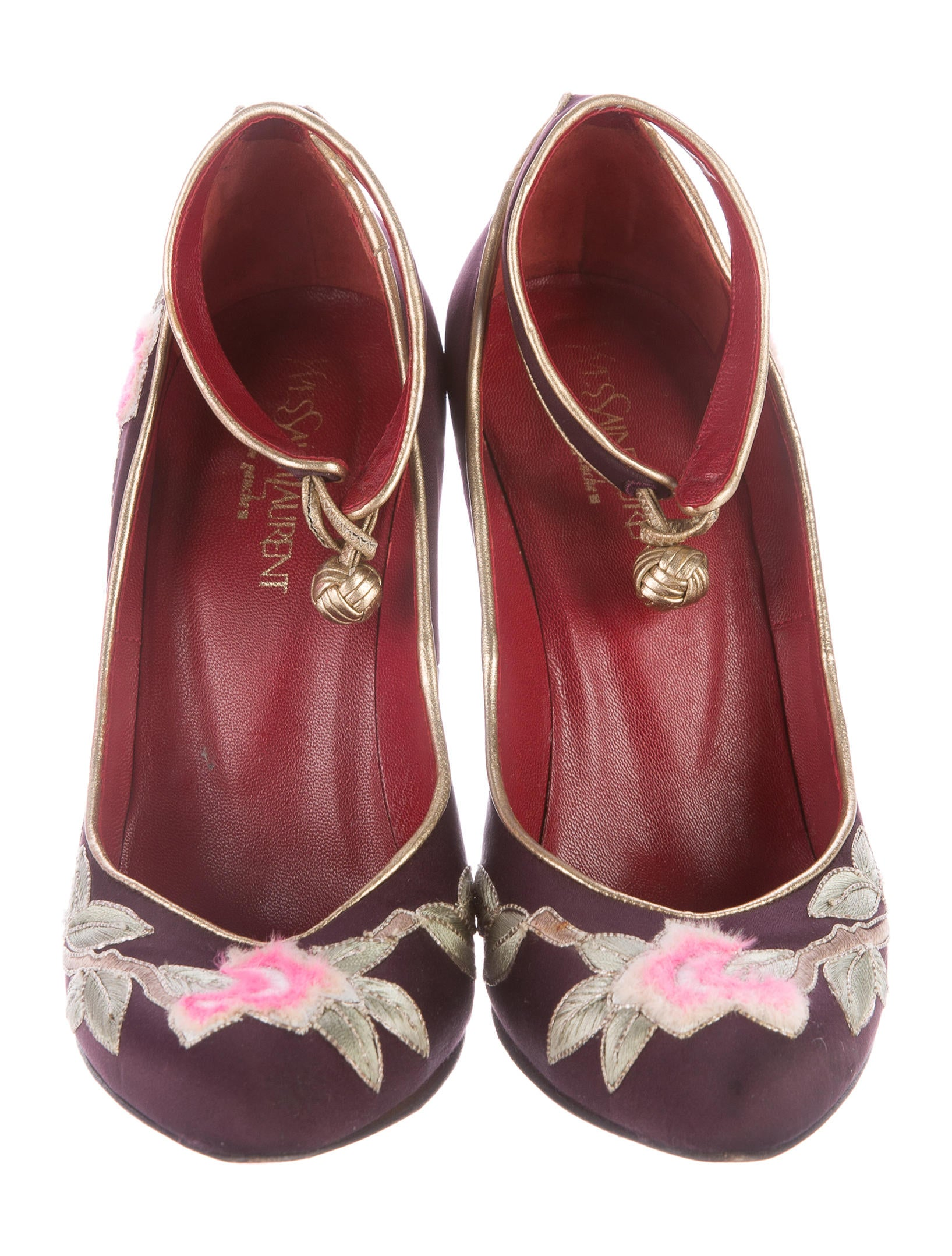 Yves saint laurent embroidered floral wedges shoes
