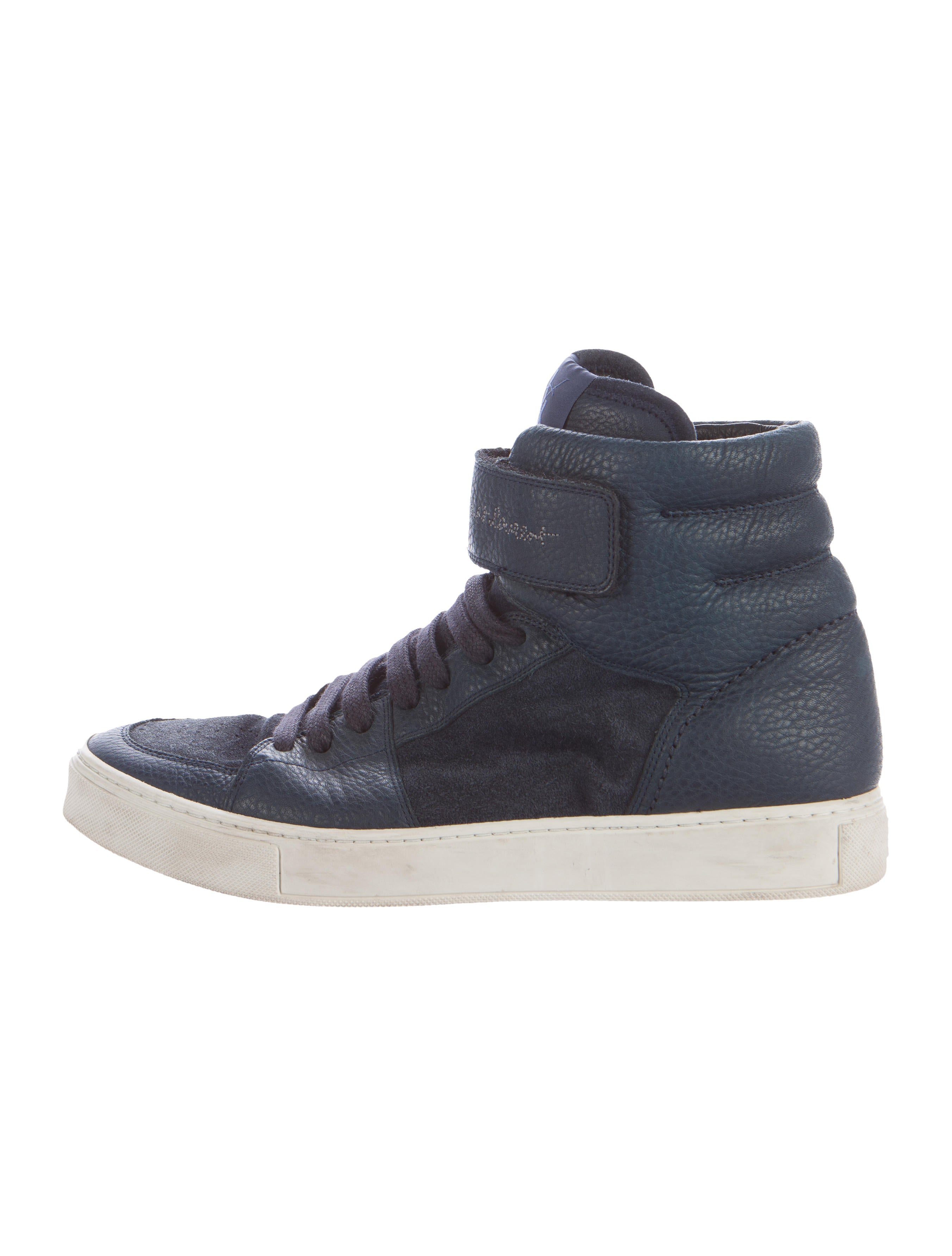 yves saint laurent leather suede high top sneakers mens shoes yve57635 the realreal. Black Bedroom Furniture Sets. Home Design Ideas