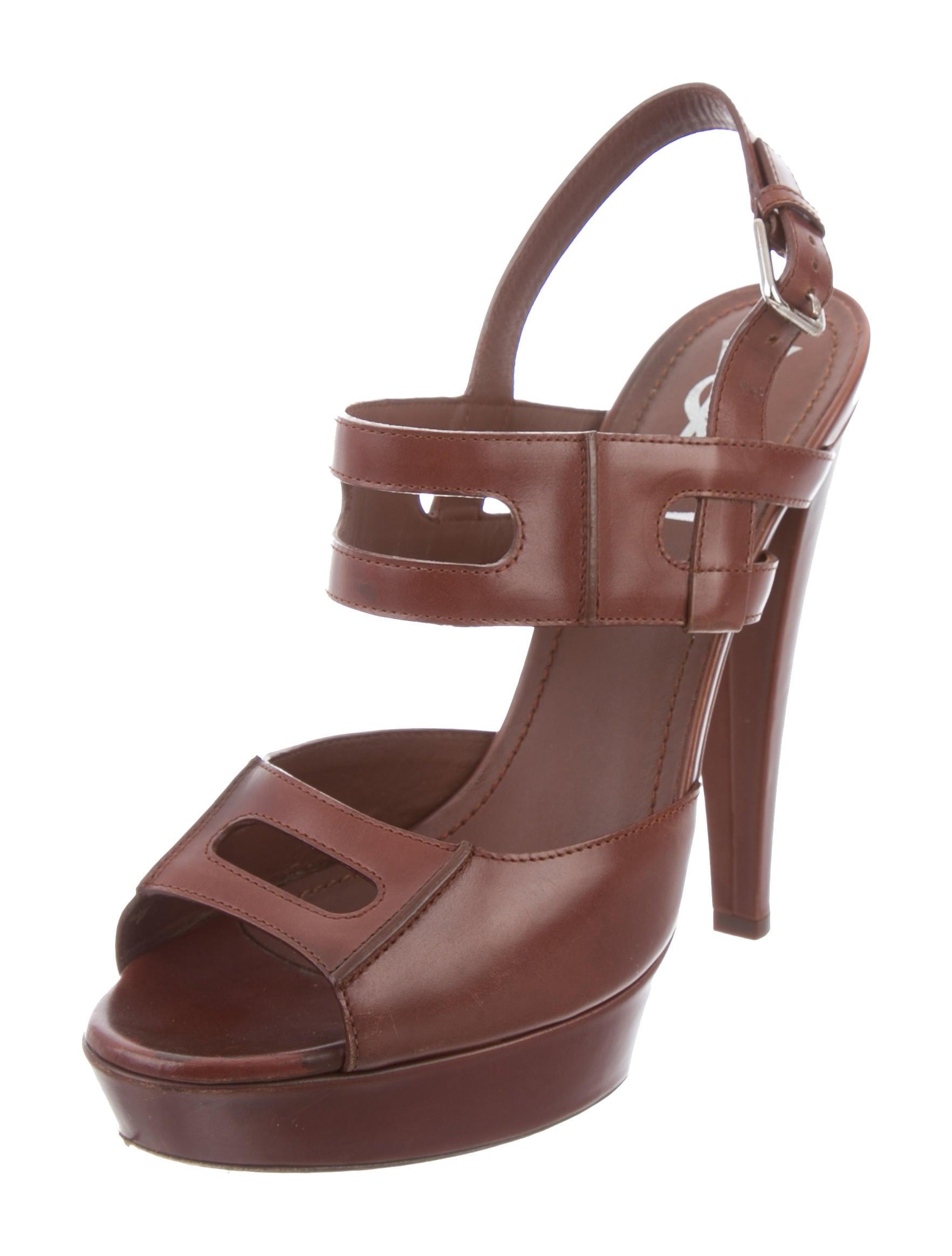 yves laurent leather platform sandals shoes