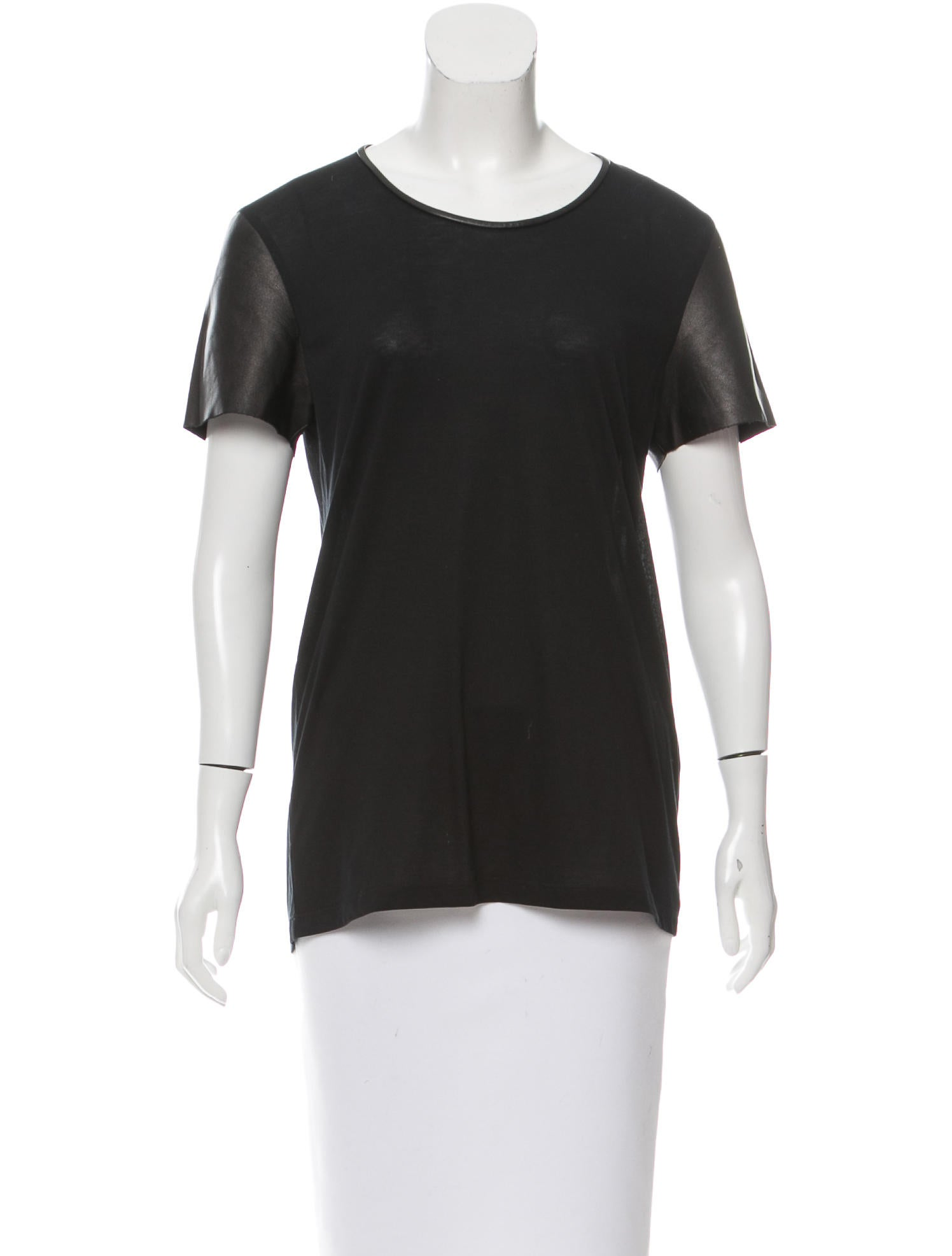 yves saint laurent leather paneled crew neck t shirt. Black Bedroom Furniture Sets. Home Design Ideas