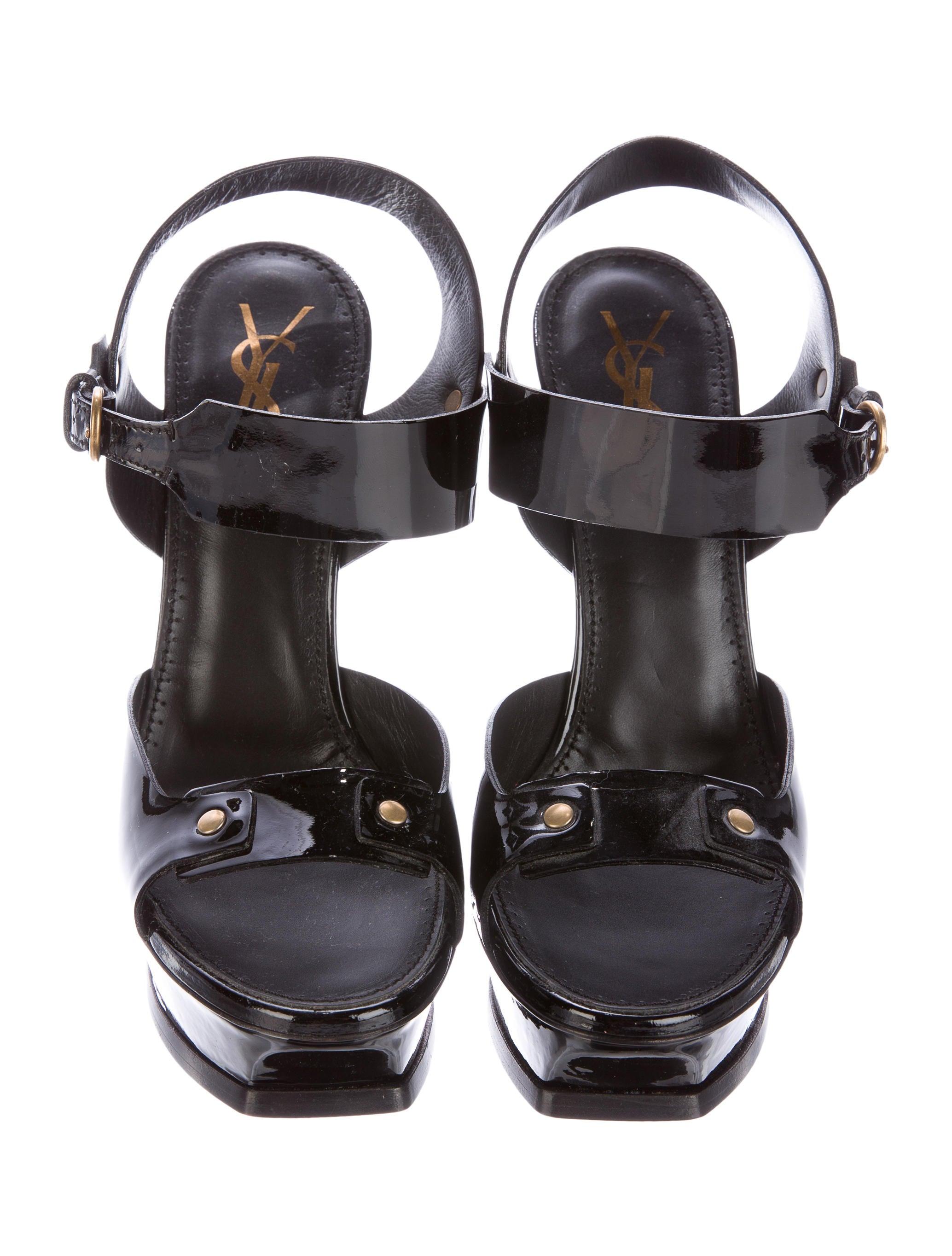 yves laurent patent leather platform sandals shoes