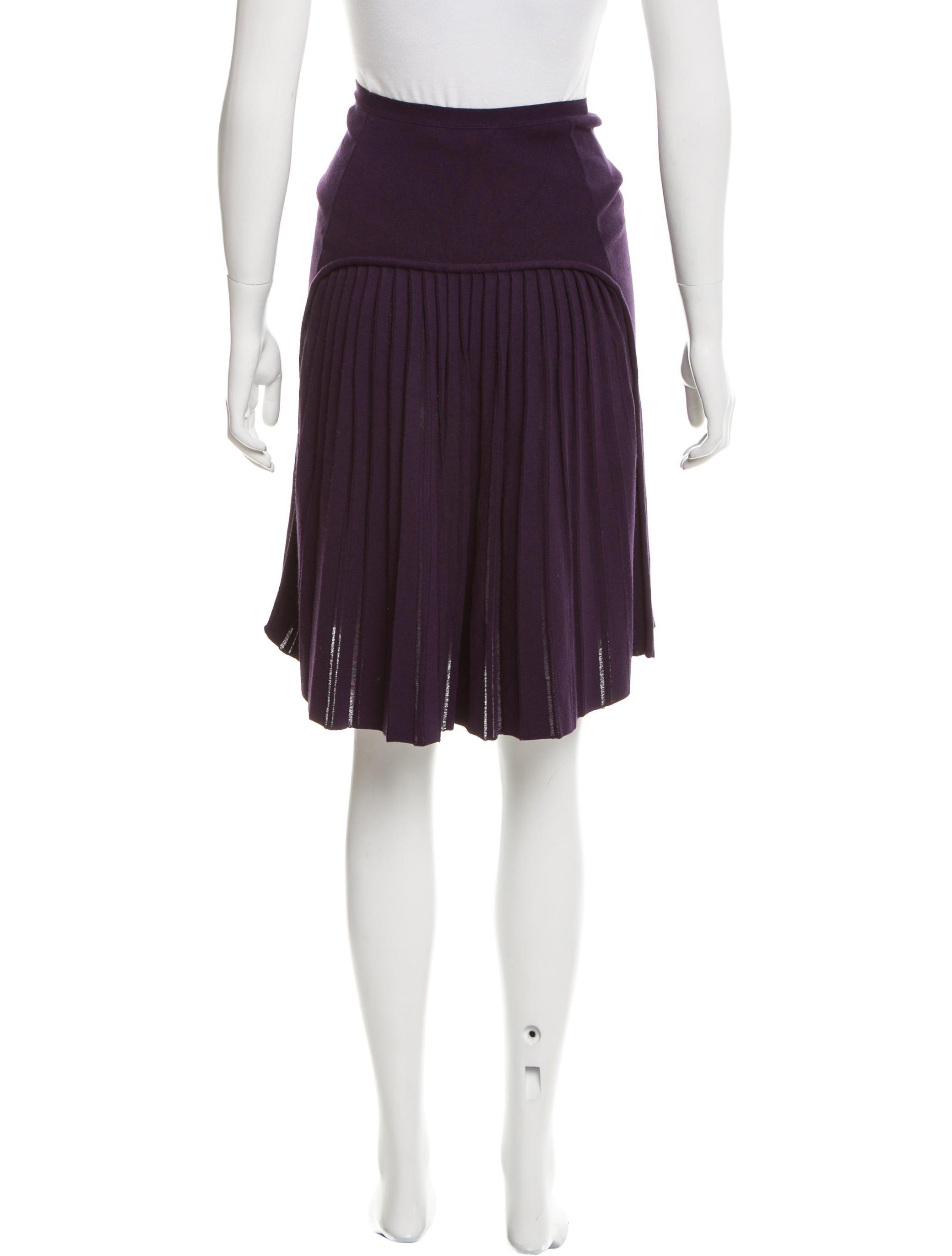 yves laurent knit pleated skirt clothing