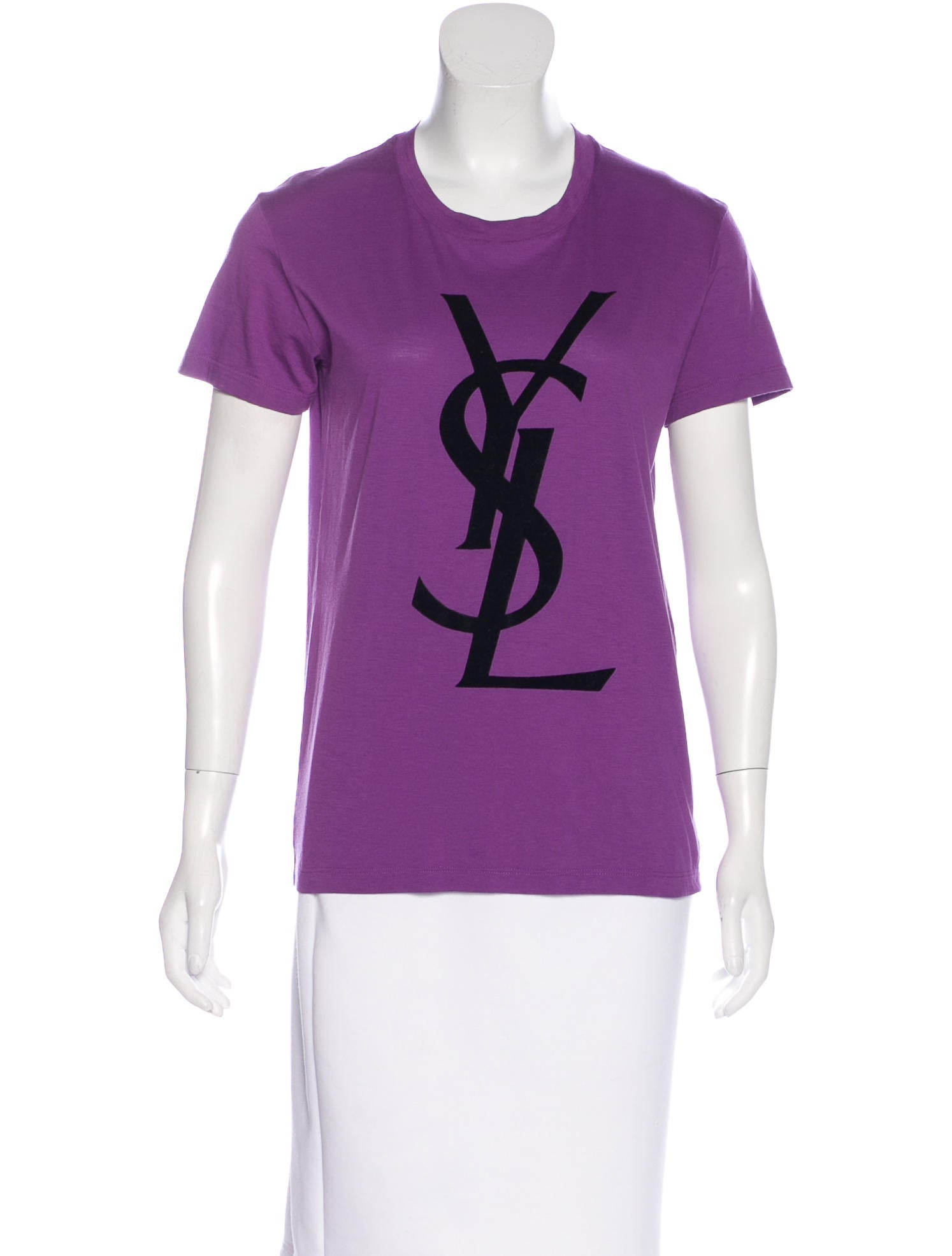yves saint laurent logo print short sleeve t shirt. Black Bedroom Furniture Sets. Home Design Ideas