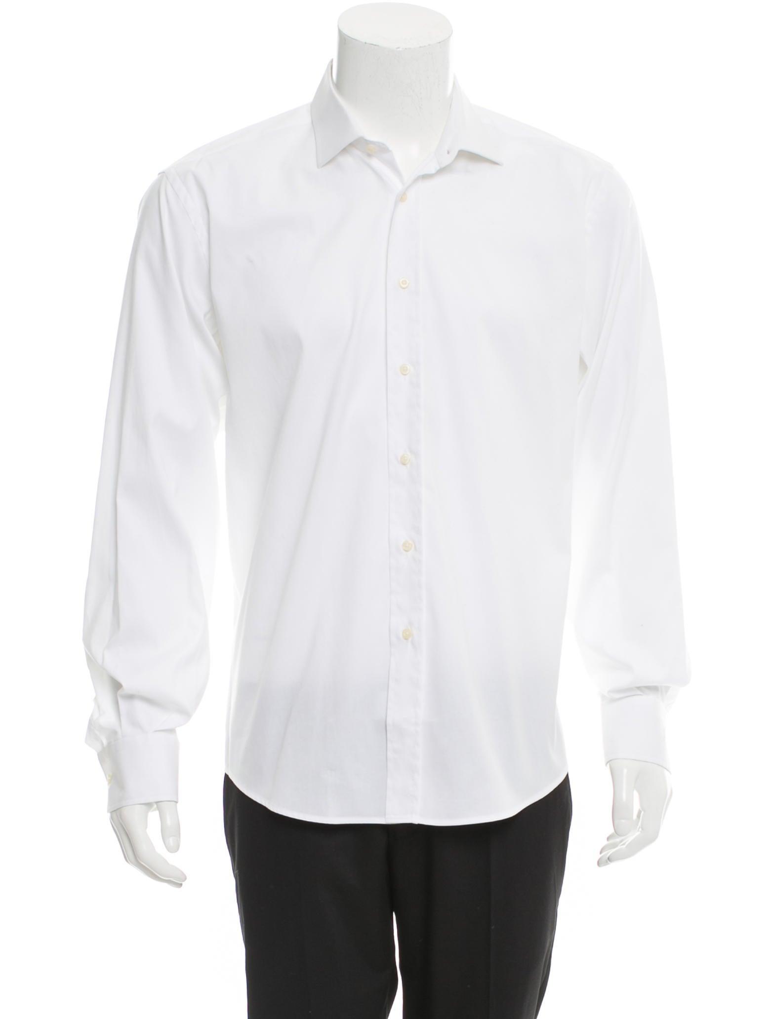 Yves saint laurent woven button up shirt clothing for Yves saint laurent white t shirt
