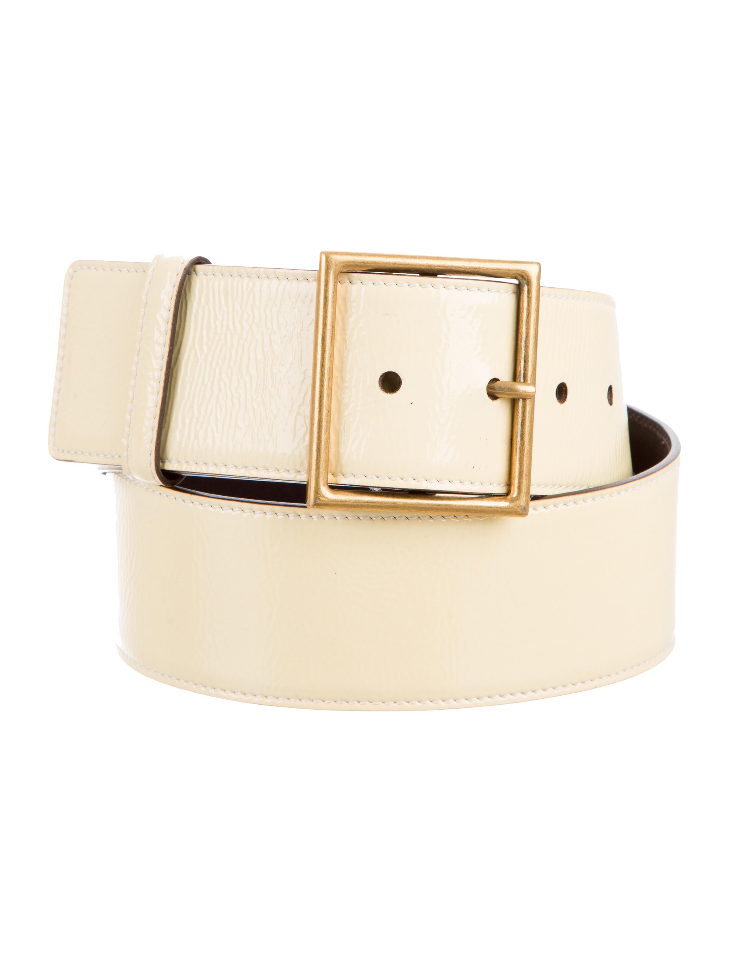 yves laurent wide patent leather belt accessories