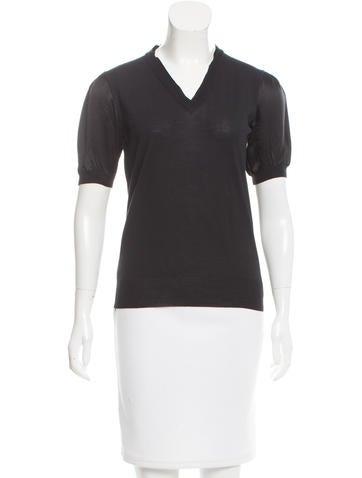 Yves Saint Laurent Wool Silk-Paneled Top None