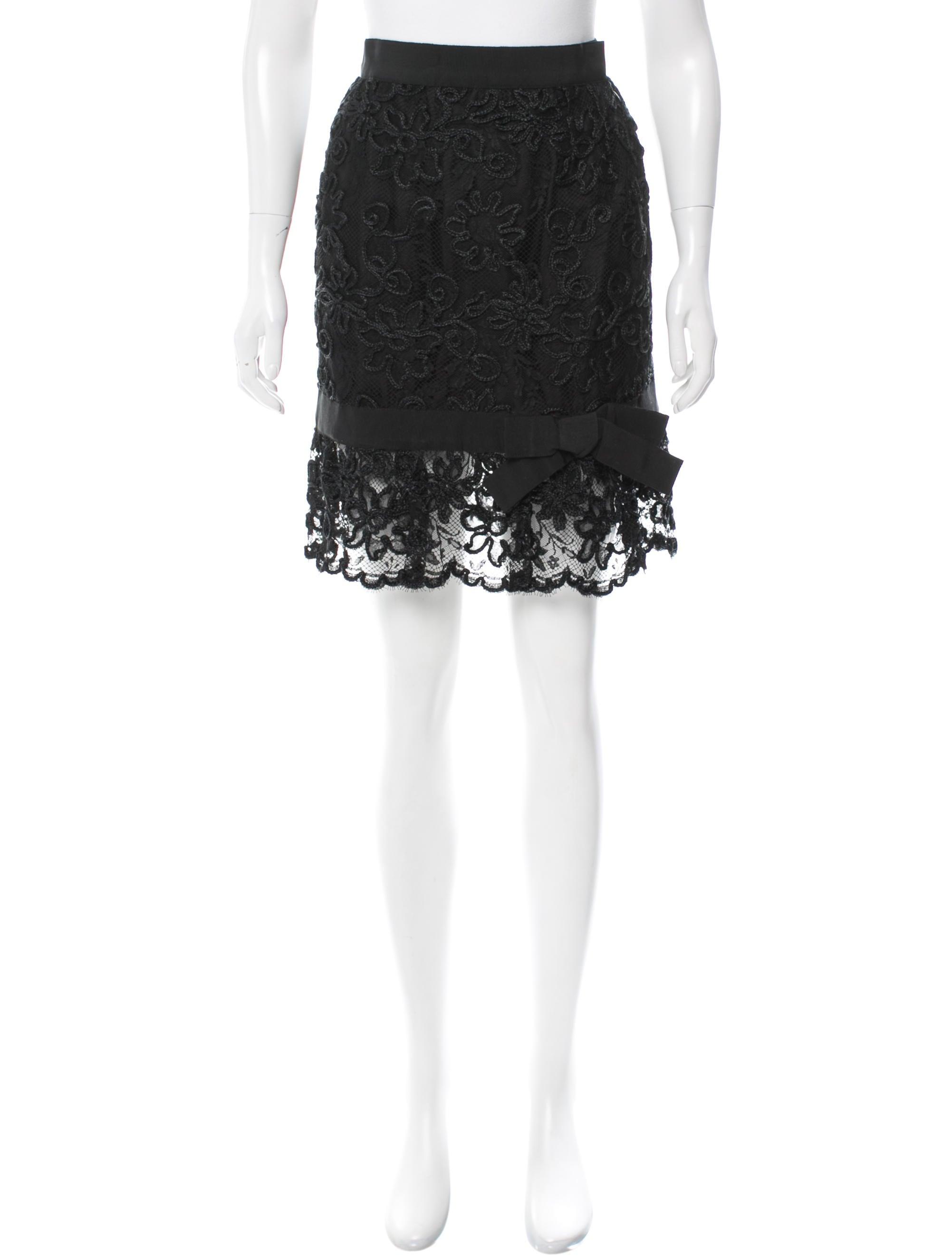 yves laurent lace knee length skirt clothing