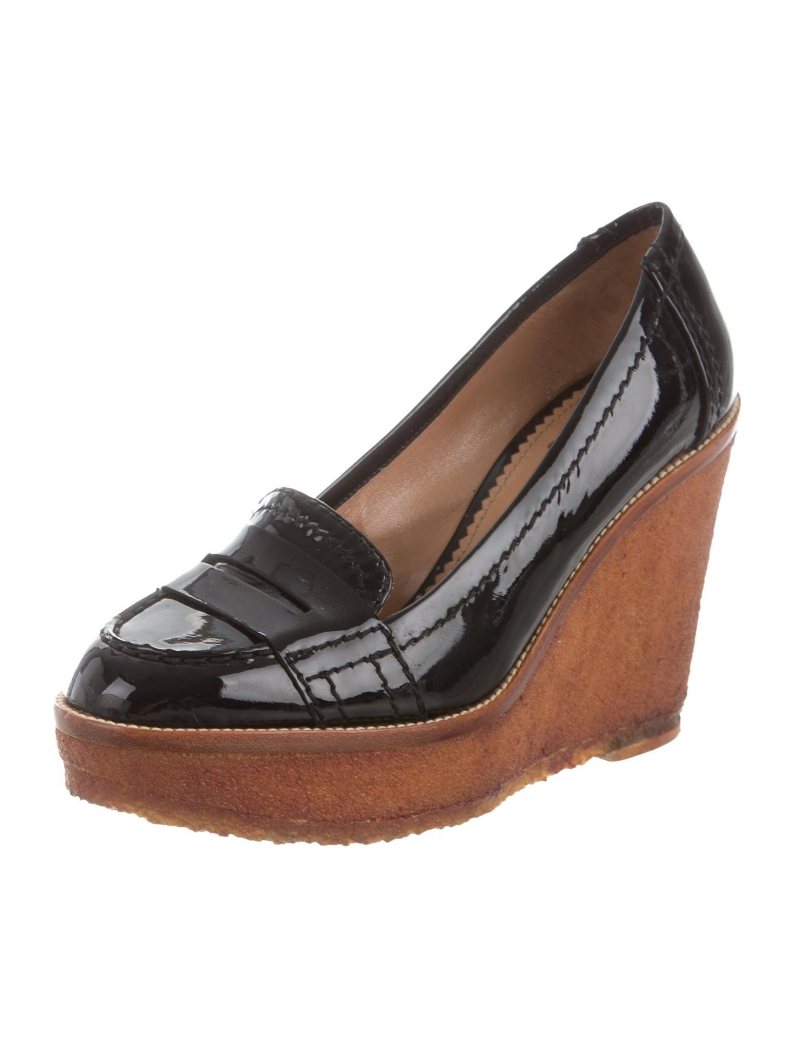 yves laurent loafer platform wedges shoes