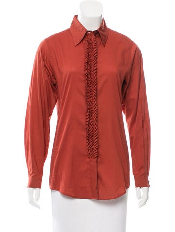 Yves Saint Laurent Ruffle-Trimmed Button-Up Top None