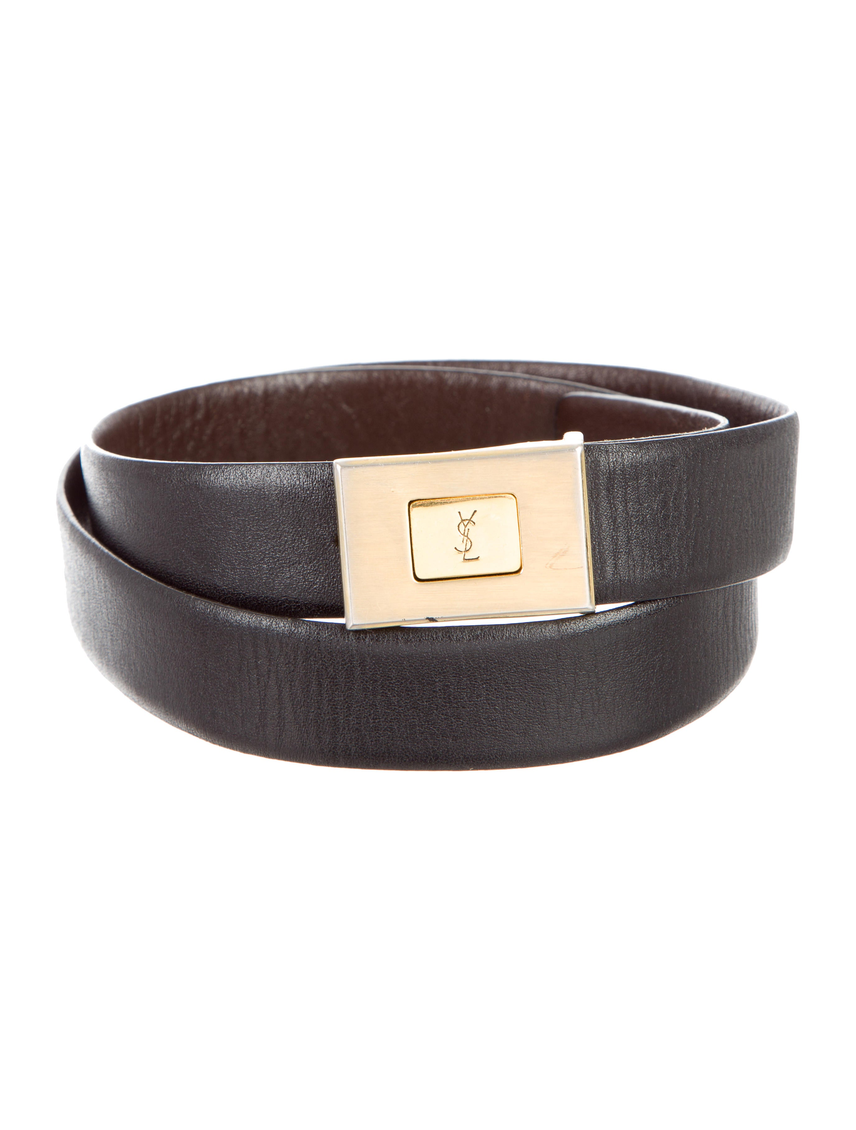 yves laurent logo leather belt accessories