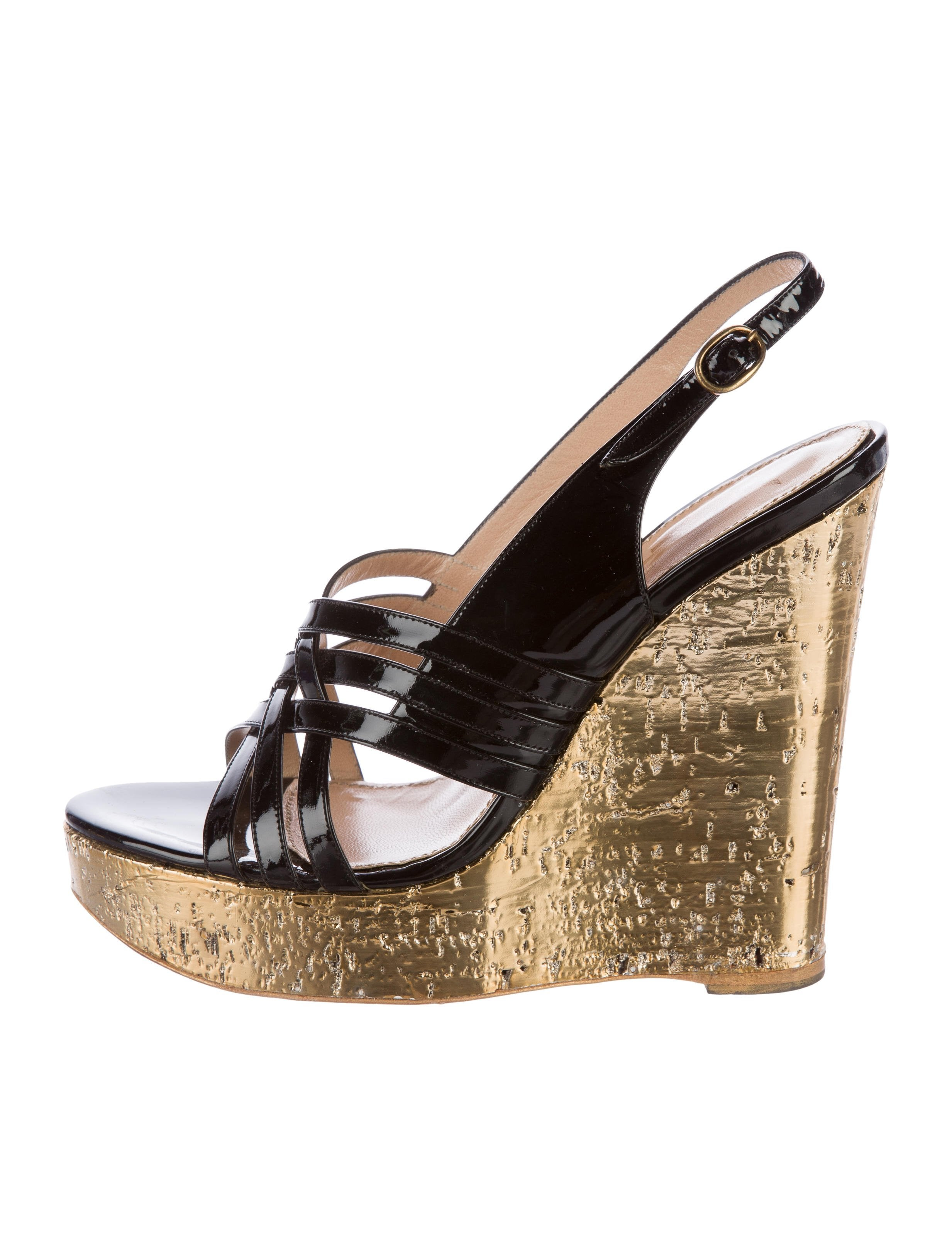 Yves Saint Laurent Patent Leather Wedge Sandals
