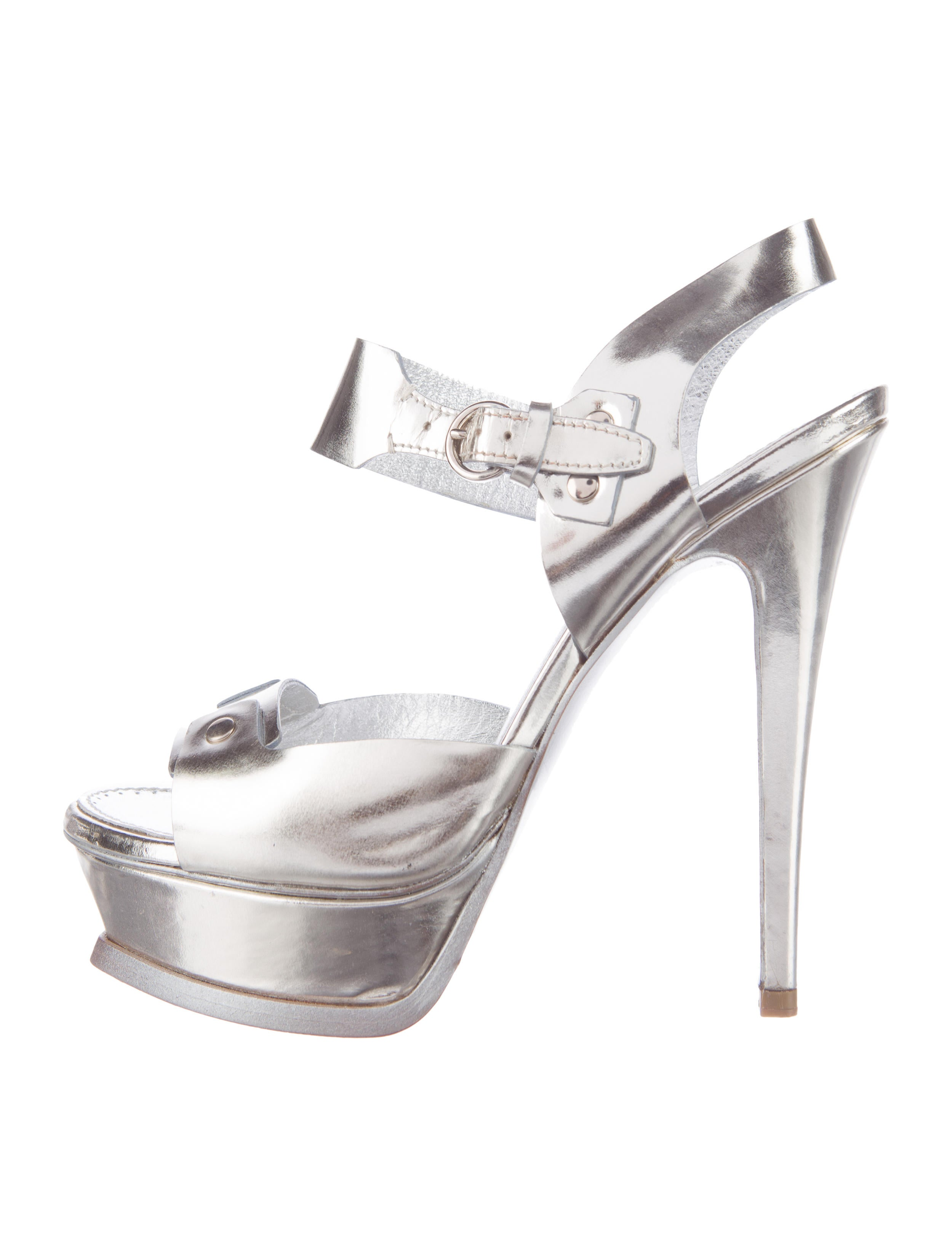 824cb9b9264 Yves Saint Laurent Stud 105 Metallic Sandals - Shoes - YVE59332 ...