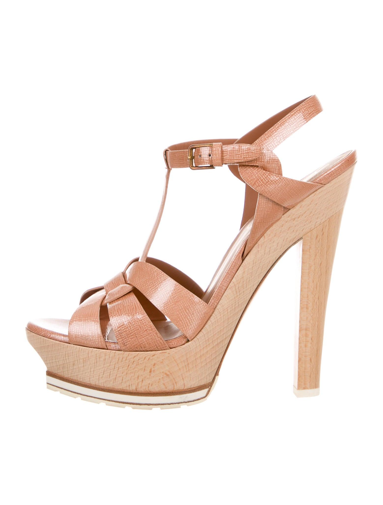 yves saint laurent tribute platform sandals shoes yve59568 the realreal. Black Bedroom Furniture Sets. Home Design Ideas