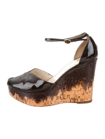 Yves Saint Laurent Patent Leather Platform Wedges None