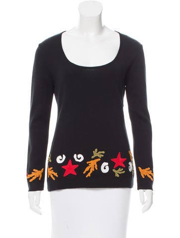 Yves Saint Laurent Embroidered Long Sleeve Top None