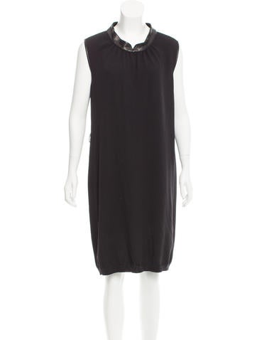 Yves Saint Laurent Leather-Trimmed Wool Dress None