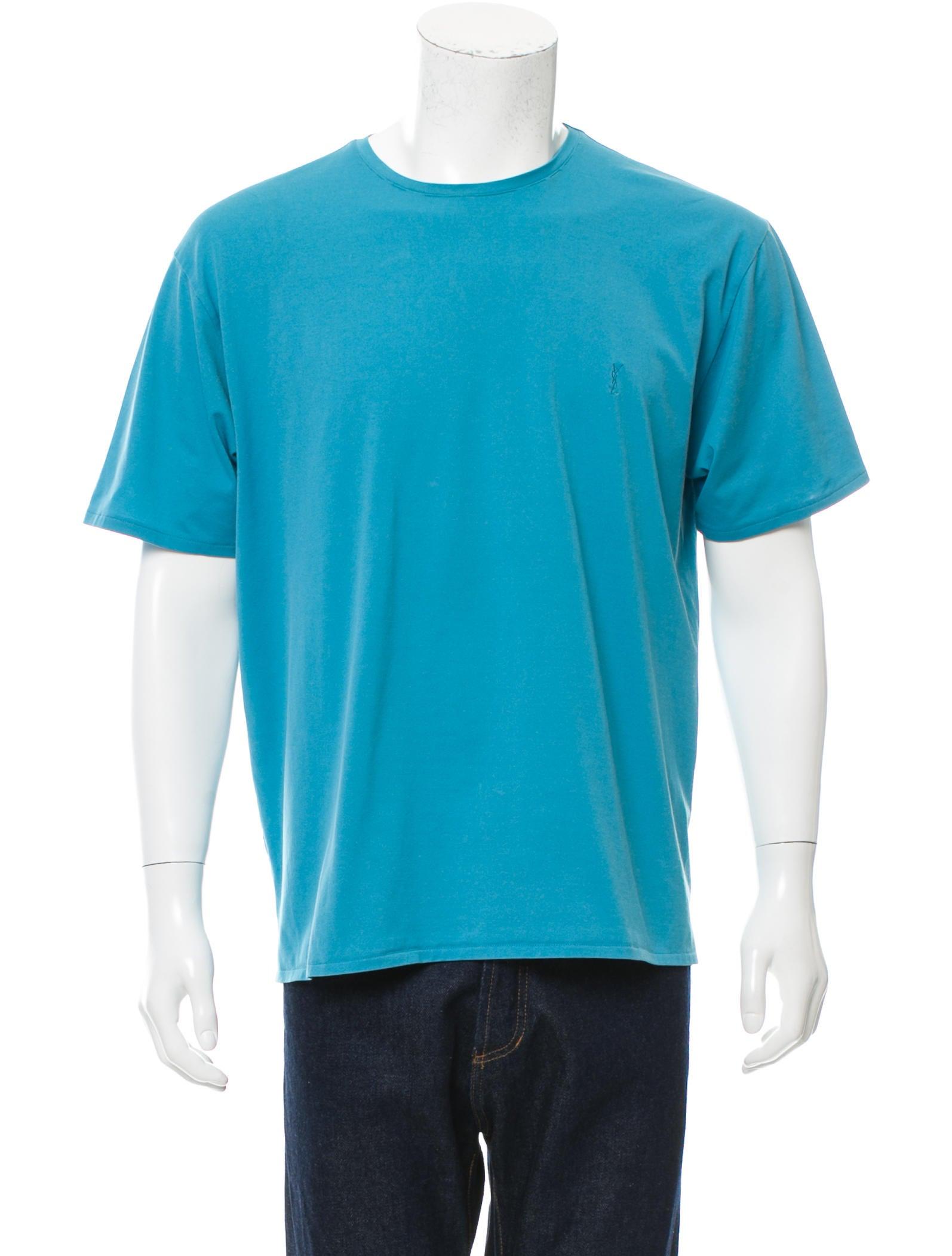 Yves saint laurent logo embroidered crew neck t shirt for Shirt with logo embroidered