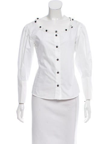 Yves Saint Laurent Button-Accented Button-Up Top w/ Tags None