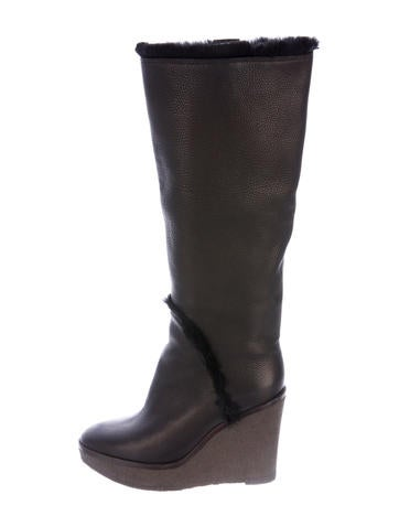 yves laurent shearling wedge boots shoes
