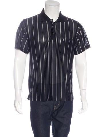 Yves saint laurent striped silk polo shirt clothing for Yves saint laurent logo shirt