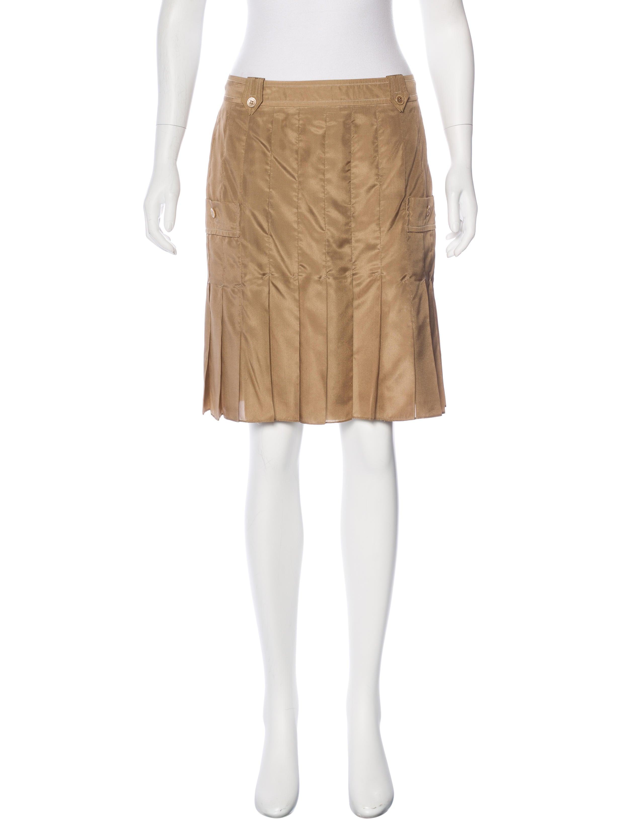 yves laurent silk pleated skirt clothing