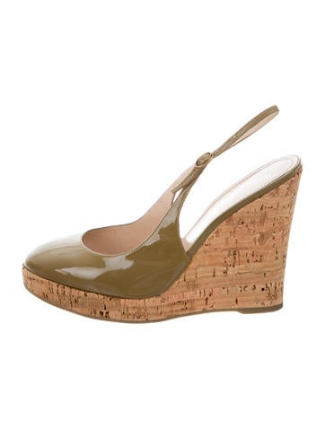 Yves Saint Laurent Patent Leather Wedges None